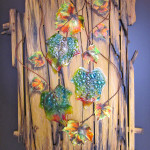 Vidrio- vitrofusion y acrilico sobre lienzo y madera
